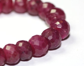 Ruby Micro Faceted Rondelles 5 Large Dark Pink Natural Precious Gemstone July Birthstone