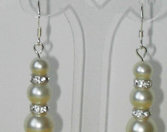 White Swarovski pearl and rhinestone  earrings (#516)