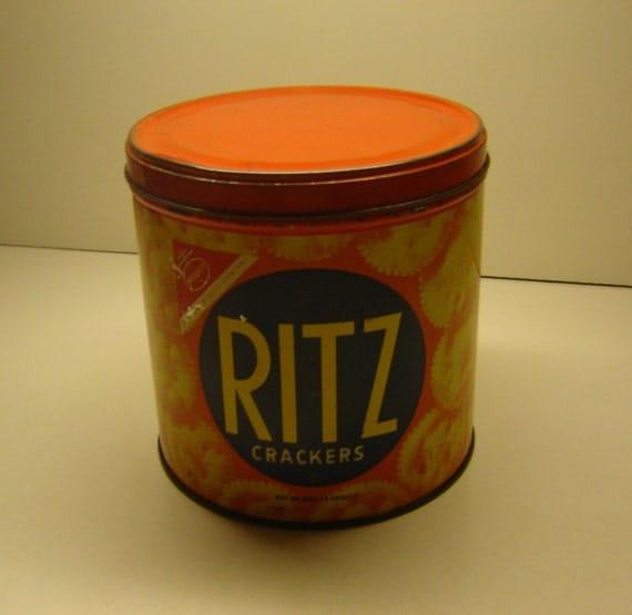 Chocolate Raisin Clusters Dunmore Candy Kitchen: Nabisco Ritz Cracker Vintage Round Tin Storage