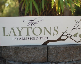 Custom family sign with love birds in tree,  last name and established date - personalized - custom wood sign - LR-011