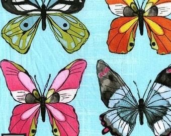 Flutter - Flutter Fly Butterfly Sky Aqua- Cotton Fabric by Laura Gunn from Michael Miller