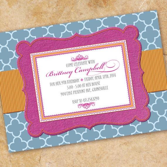 bridal shower invitations, fuchsia and tangerine bridal shower invitations, birthday party invitations, bachelorette party invitations IN322