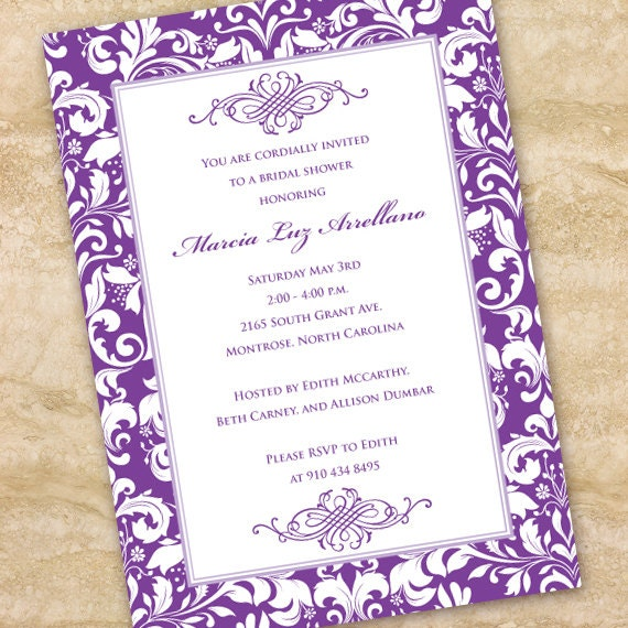 bridal shower invitations, hyacinth bridal shower invitations, purple bridal shower invitations, purple retirement party invitations