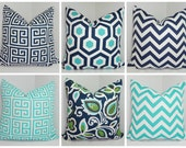 OUTDOOR Pillow Covers Geometric Chevron Greek Key AquaBlue/Navy  Deck Patio Pillow Covers Choose Size