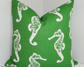 Green/White Seahorse Pillow Cover White Seahorse Pillow Cover Beach Decor Three Sizes