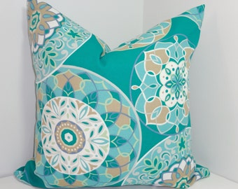 OUTDOOR Teal Floral Pillow Cover Teal & Blue Flower Deck Patio Pillow Cover 18x18