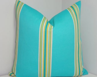 OUTDOOR Pillow Turquoise Blue Yellow Stripe Cushion Cover Porch Decorative Pillow 18x18