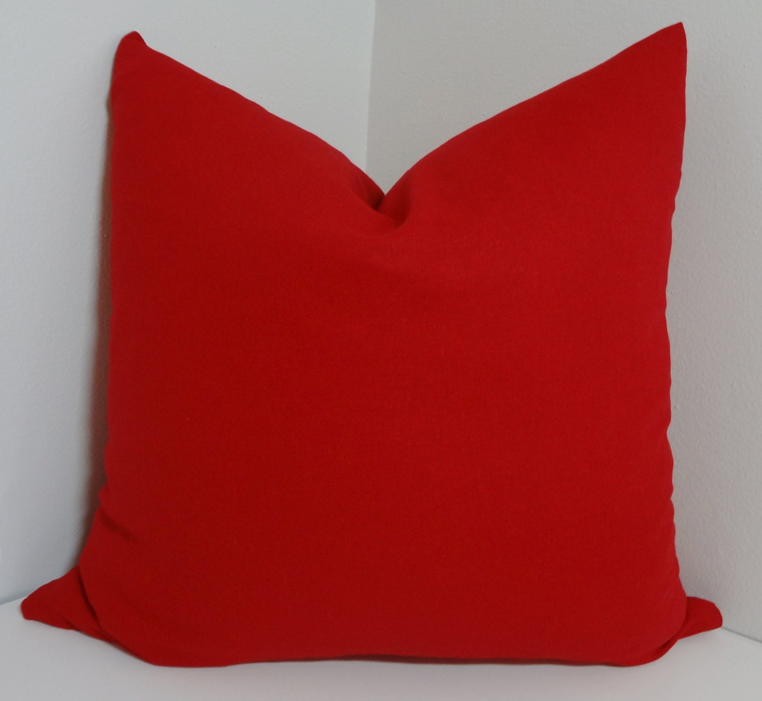 Solid Red Linen Blend Pillow Cover Decorative Pillow by HomeLiving