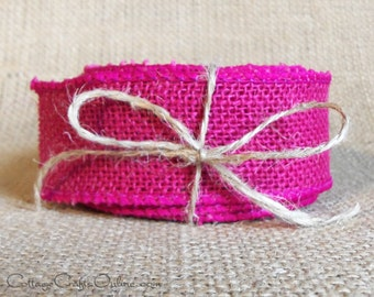 "Burlap Wired Ribbon, 1 1/2"" wide, Fuchsia Pink Natural Jute - THREE YARDS -  Offray Rustic Craft, Shabby Decor Hot Pink Wire Edge Ribbon #9"