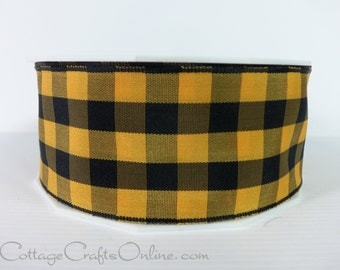 "Wired Ribbon, 1 1/2"", Orange and Black Gingham Check Plaid - Three Yards -  ""Karo Orange"" Halloween, Fall Wire Edged Ribbon"