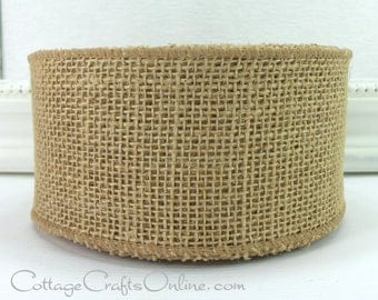 "CLEARANCE! Burlap Wired Ribbon, 2 1/2"" wide, Biege Tan Natural Jute - NINE & 1/2 YARDS  - Morex, Rustic Wire Edged Craft Ribbon"