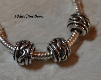 Rope Antiqued  Silver Plated Spacer Beads Fit  European Charm Bracelet 102