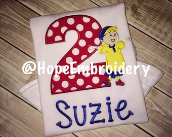 Caillou Birthday Ruffled personalized Shirt with applique number, child's name