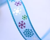 Woven Ribbon light blue with snowflakes, 1 cm width, 2 Meters (2.18 yard)