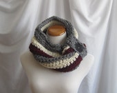 Neckwarmer Cowl Chunky Bulky Crochet:  Gray, Burgundy and Off White with Black Button
