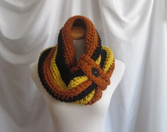 Cowl Chunky Bulky Button Crochet Cowl:  Rust, Black & Gold with Black Button