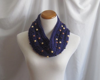 Chunky Soft Bulky Crochet Cowl:  Dark Grape Purple Wool with Wood Beads