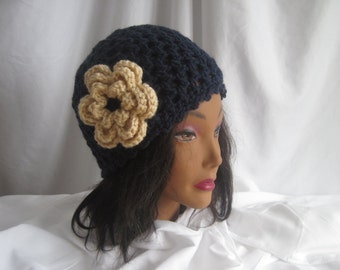 Hat Womans Navy Blue Crochet Hat with Cream Flower Applique Embellishment Stylish, Chic, Trendy and Lacy Cap Handmade Fashion Accessory