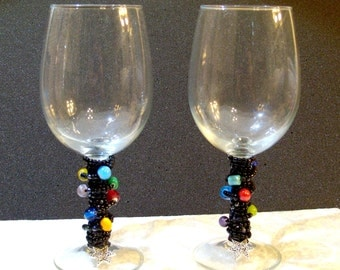 Set of 2 Multicolored Beaded Wine Glasses