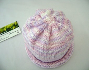 Handknit Baby Hat in lavender pink & white stripes Newborn to 3 months ready to ship