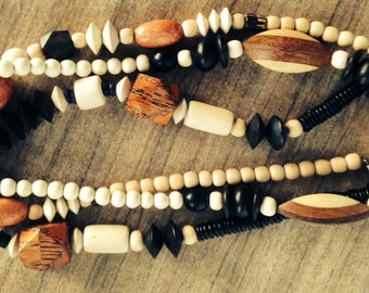 Lot of Vintage Wooden Necklaces - Ethnic, Tribal, Chunky, Bold, Earthtones, BOHO, Geometric