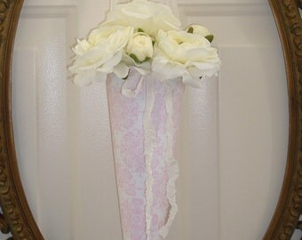 4 Large paper cone wedding flower cone pink white DAMASK print seam binding ribbon shabby vintage rustic wedding pew chair flower cone