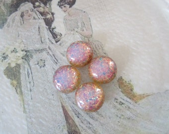 Vintage 13mm Pink Fire Opal Glass Cabs 4Pcs.