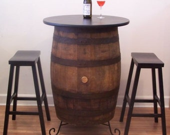 """White Oak Barrel Table-30"""" Table Top-Stand-(2) 29"""" Black Bar Stools-FREE SHIPPING"""