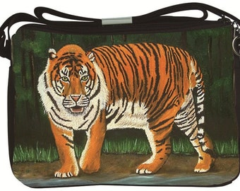 Bengal Tiger Large Messenger Bag by Salvador Kitti - From My Original Painting, Eminence-   Support Wildlife Conservation, Read How