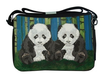 Panda Cubs Large Messenger Bag by Salvador Kitti - Support Wildlife Conservation, Read How