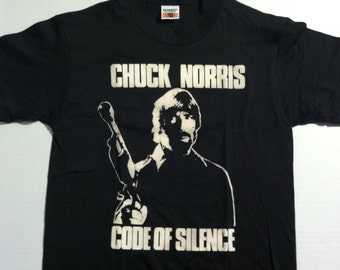 Vintage 1985 Chuck Norris, Code of Silence t-shirt, soft & thin, S-M