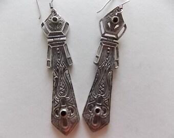 Vintage Silver Onyx Drop Earrings