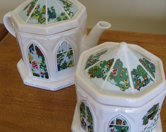 English Wade A Conservatory Teapot and Caddy Set