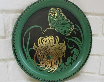 Vintage Butterfly Tray Green and Gold