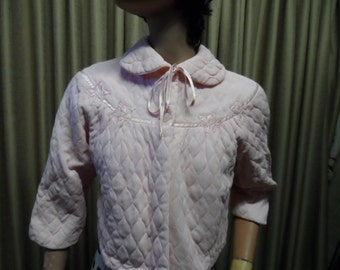 Bed Jacket, 1950s, pink quilted satin.