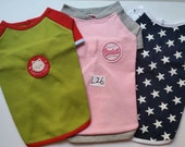 LARGE Set of 3 Puppy clothes ,Small or Medium dog clothes, Shirts Buy 2 packages (any size) get 1 package (any size) Free. NO. L26