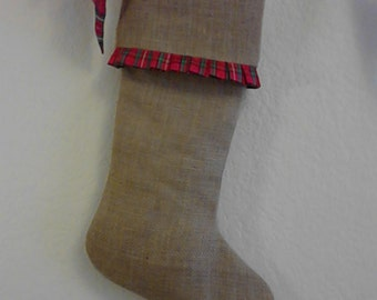 Burlap Christmas Stockings, Red Plaid Pleated Ruffle - Fully Lined