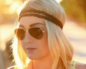The Boho Band, Double Strand Bohemian Braid Headband, Indie, elastic closure, Braided Headband, Bohemian Style