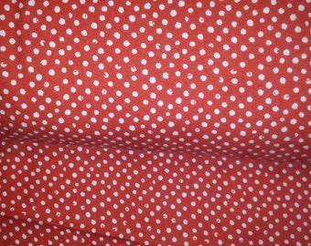 white dumb dot on reddish orange by Dear Stella LA-F37 1 yard flannel cotton Print quilt shop only 100 percent cotton