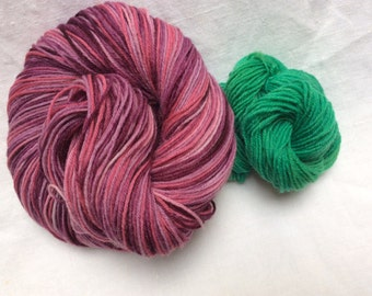 SALE Hand dyed Self Striping Variegated 4ply Knitting Yarn - 'Summer Berry Pudding' Colorway
