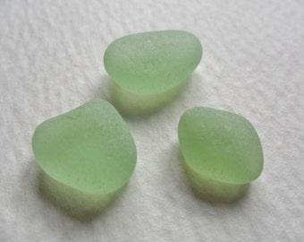 Pale green sea glass trio - Very pretty English beach find pieces