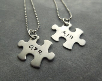 Personalized Puzzle pieces necklace set - 2 necklaces hand stamped stainless steel