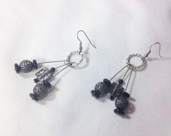 Earrings Gunmetal Black Dangle, Large Bulky Jewelry, Black Dangle Earrings, Black Metal Earrings by Cindydidit OOAK