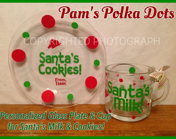 SANTA'S MILK & COOKIES Personalized Glass Plate and Mug Set for Santa Claus on Christmas Eve Great Christmas Gift