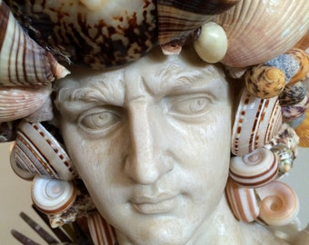 Amazing Statue Head Bust covered in Seashells