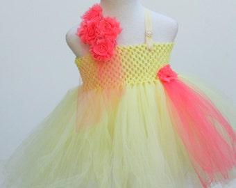 Lemon Coral Dress - Custom Made Pageant Dress - lemon themed party - Lemon dress - lemon coral dress