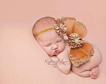 Newborn Butterfly Wings, Flower Headband,  Photo Prop, Mocha Brown, Gold Accents, Satin Flowers, Glitter Elastic