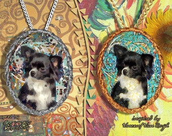 Chihuahua Long Haired Jewelry Pendant - Brooch Handcrafted Porcelain by Nobility Dogs - Gustav Klimt and Van Gogh