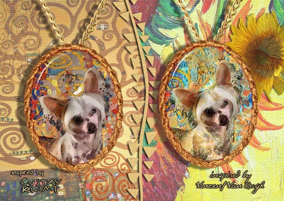 Chinese Crested Dog Jewelry Pendant - Brooch Handcrafted Porcelain by Nobility Dogs - Gustav Klimt and Van Gogh