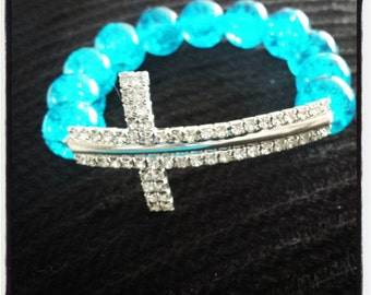 Baby Blue Cross bracelet